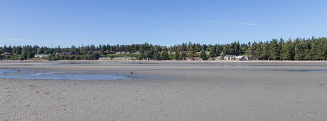 Panorama of the beach looking back at Tanglewood
