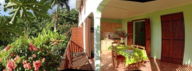 La terrasse est entourée de végétation, au calme