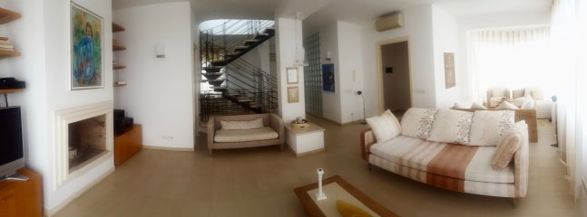 Living Room with Home Cinema, Balcony and Chimney