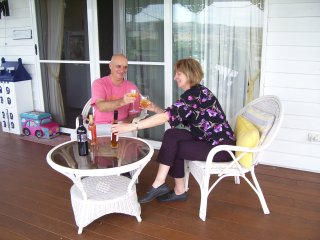 Enjoying a wine on the deck