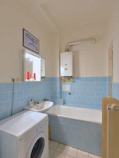 Large bathroom with bath and 24/7 hot water