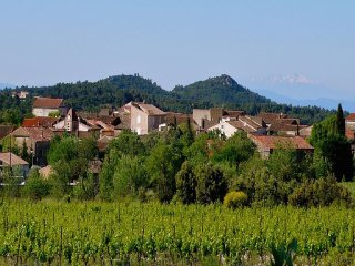 A quaint view of Assignan ~ graced by the Pyrenees
