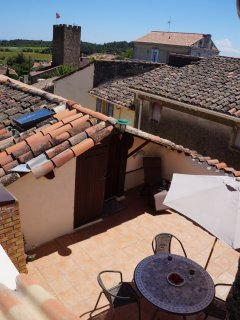Catch colorful views of roof tiles and vineyards