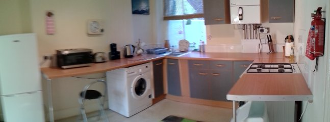 washing machine, fridge freezer, hob, cooker & microwave.