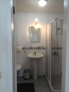 The shower room is modern