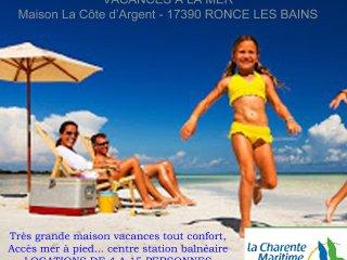 Grand gite vacances bord de mer 6/15 personnes - location familles, groupes, Ronce-les-Bains