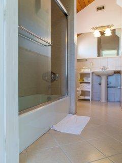 Full bathroom off the family room floor