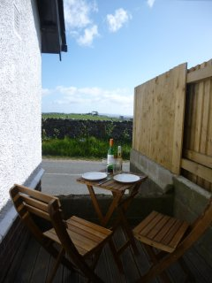Decking with bay and countryside view
