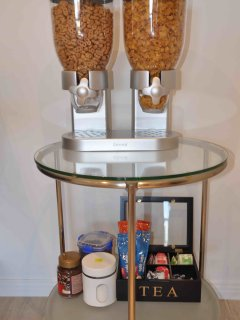 Complimentary Breakfast - milk, cereals, sultanas, coffee and tea