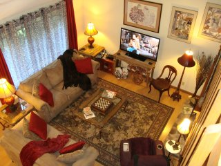 Living Room:  Comfortable for visitng & relaxing; 52' HDTV, DVD Player; Big DVD Movie Library