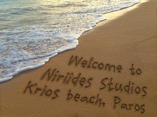 Niriides beachfront Studios with kitchen for 2 guests ~ BEST beachfront value!