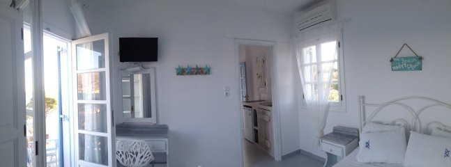 Each beach studio offers  kitchenette, double bed, a/c, wifi, seaview balcony. Studio #3 in photo