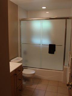 2nd bathroom with shower door and tile very nice