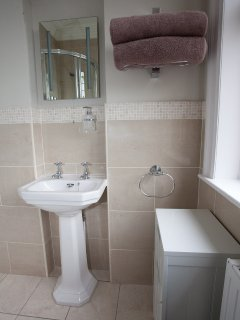 Ensuite shower room with a magnificent view.