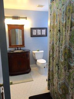 En-suite bathroom with a jacuzzi