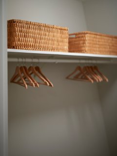 All Walk-in Closets Clean with Luggage Stands and Hangers