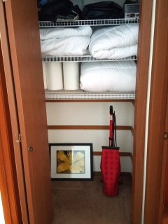 Extra   comforters, and blankets in hall closet,  vacuum.