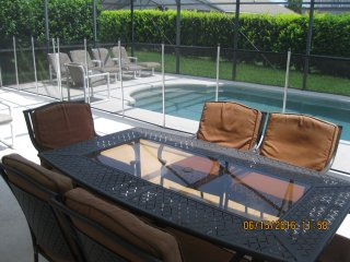 Covered lanai w/ removable safety screen; great feature to keep children safe.