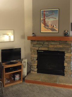 The gas fireplace, satellite TV and DVD player.