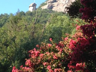 The view of Chimney Rock from the back deck