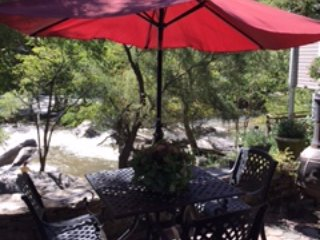 Eat on the back deck overlooking the river