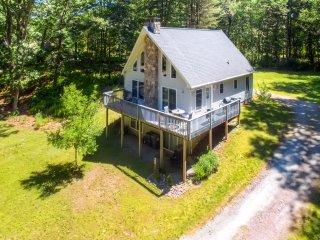 Charming, 2BR + Loft Catskills Riverfront A-Frame Chalet on the Delaware w/Spacious Wraparound Deck - On 5 Wooded Acres