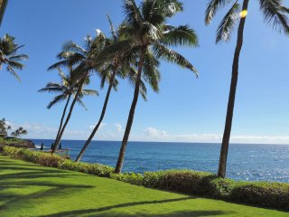 Poipu Shores 104A, Deluxe Oceanfront, 2BR Condo, heated pool, dbl sized lanai