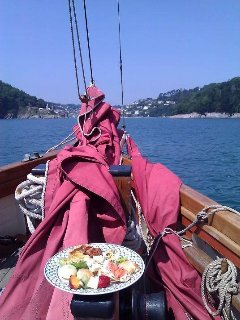 Lunch is served whilst sailing up the River Dart