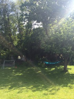 Large rear garden with burbling stream and tyre swing for the kids