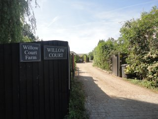 The driveway to Willow Court Farm.