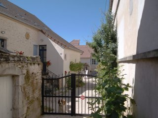 Entrance gate to all 3 holiday houses. Maison 1 and 2 behind the gate  left, Maison 3 at the back
