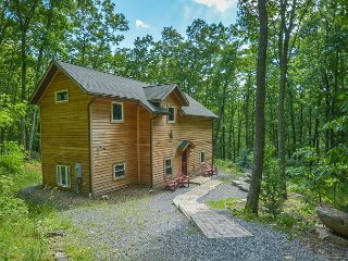 Mountain home in wooded setting with fire pit & convenient location!