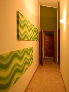 Green corridor to the rooms