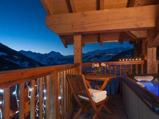 Twilight views from the balcony's hot tub.