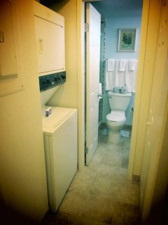 WASHER AND DRYER AND BATHROOM AREA