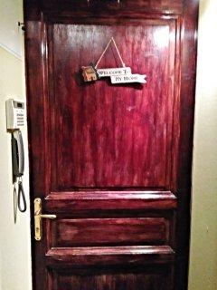 Red wood entrance door