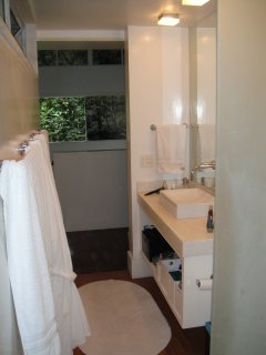 The bathroom of the master suite has a sink, toilet, shower and a small hot tub - for you to relax!