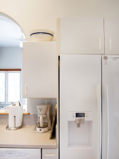 Filtered water and ice in fridge door and coffee maker
