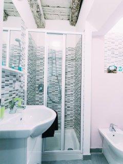 veduta box doccia con solaio in legno del bagno