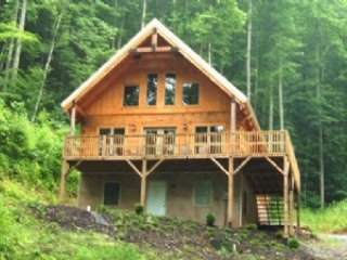 Big Laurel Cabin - Wonderful Mt. Chalet, all wood, hot tub, fishing in the, Mars Hill