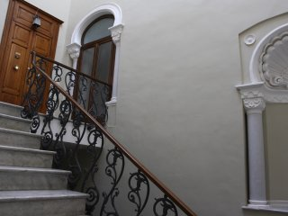 The front door of our apartment on the 2nd floor of a beautifully restored, 19th century palazzo.