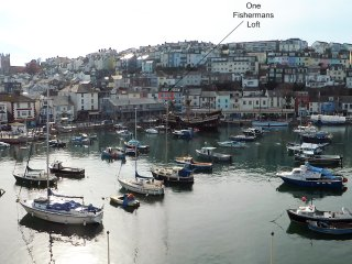 Location of One Fishermans Loft, overlooking Brixham harbour
