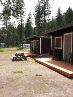 Cabins 1 & 2 and campground.