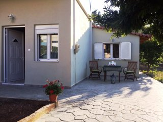 New house with a private fenced yard near the sea., Nea Makri