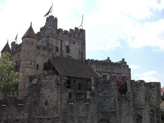 Historical house in front of Gravensteen., Ghent