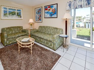 Living room with sleeper sofa and patio