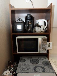 coffee maker, microwave,fridge