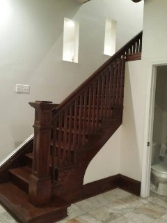 View of the stairs inside the house which leads to the upstairs living