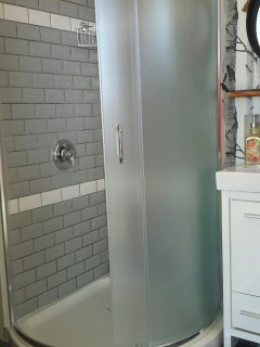 brand new tiled shower - spacious