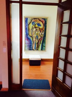 Art at the entrance of studio